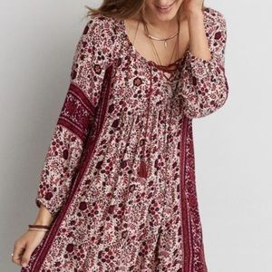 AEO Boho Shift Dress Marion Pink Tie Neck